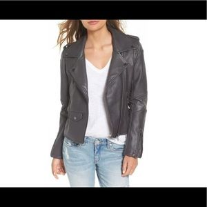 BlankNYC Easy Rider Faux Leather Moto Jacket Grey